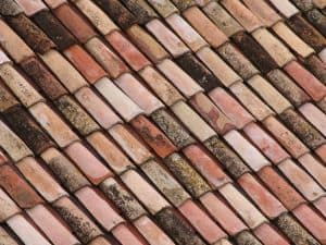 closeup of terracotta tiles on a roof