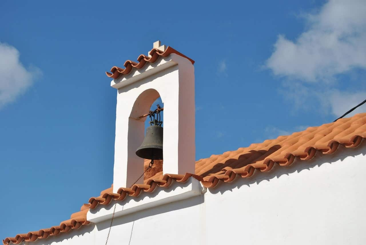 a terracotta roof in the sun