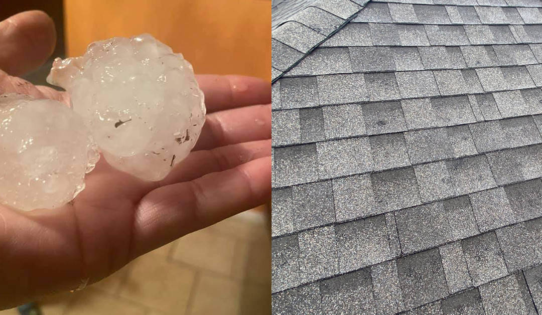 Baseball size hail damage roof
