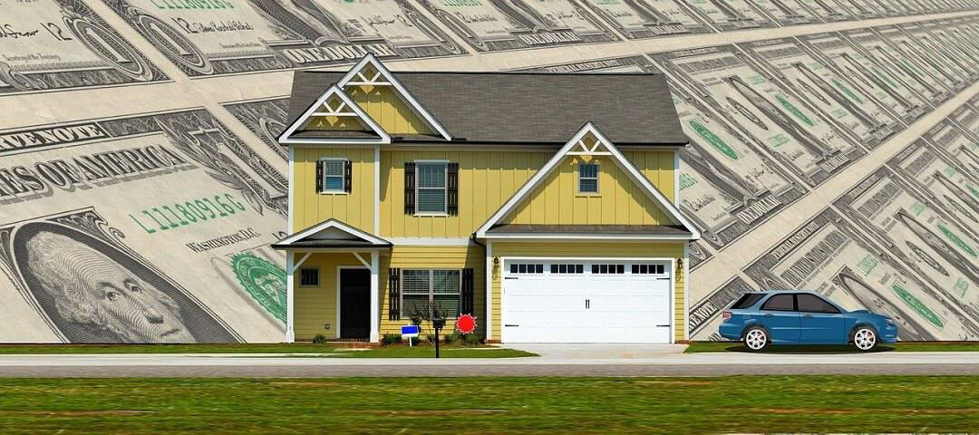image of a home with money behind it