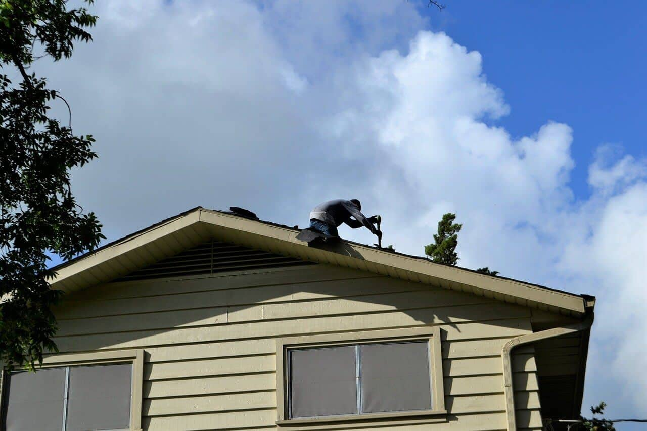 an emergency roof repair in progress